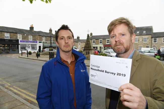 Corbridge Parish Council chairman Marc Horn and Northumberland County Councillor Nick OIiver are concerned about a housing survey sent to residents.      Photo: HX181924