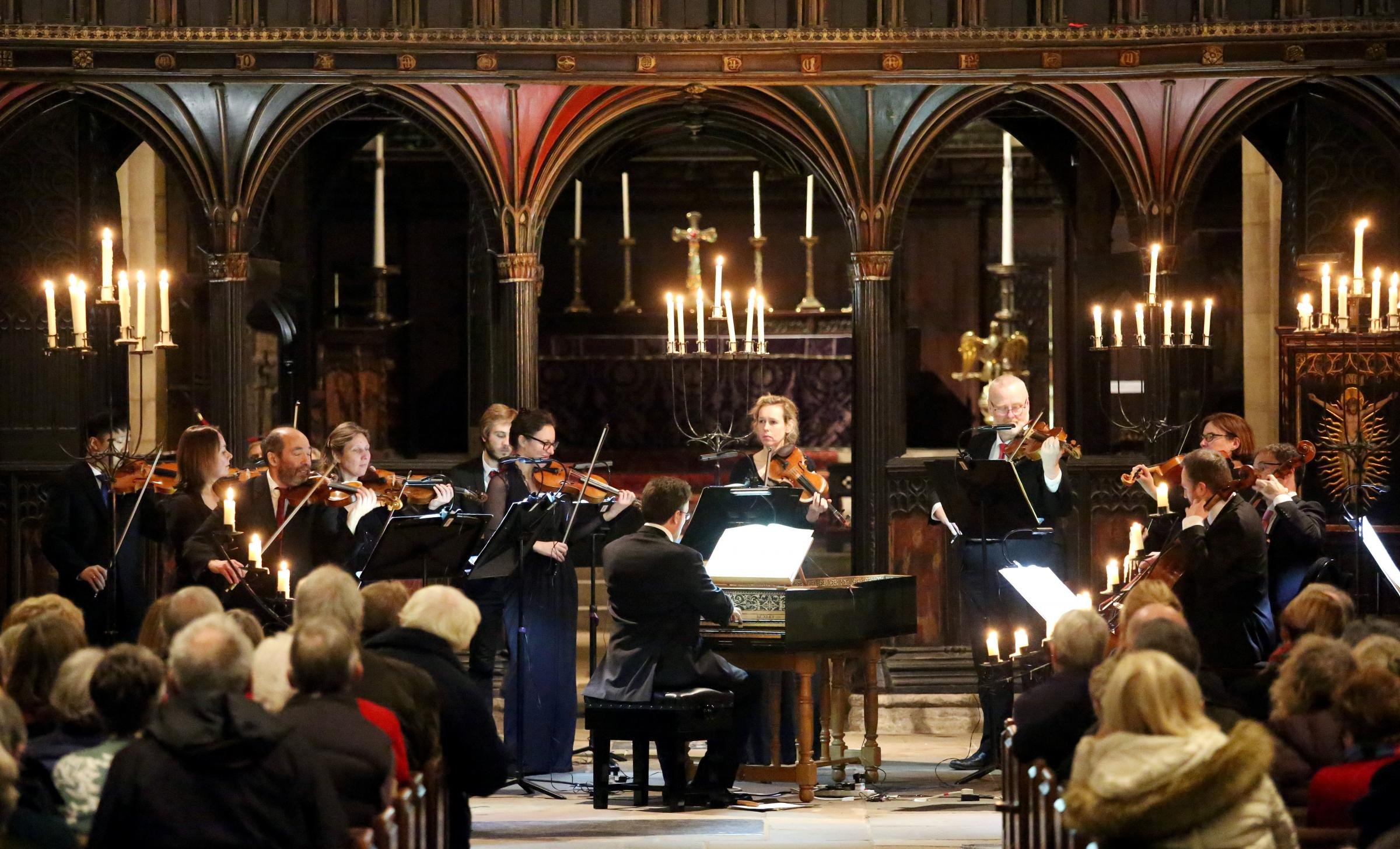 Royal Northern Sinfonia performing inside Hexham Abbey.