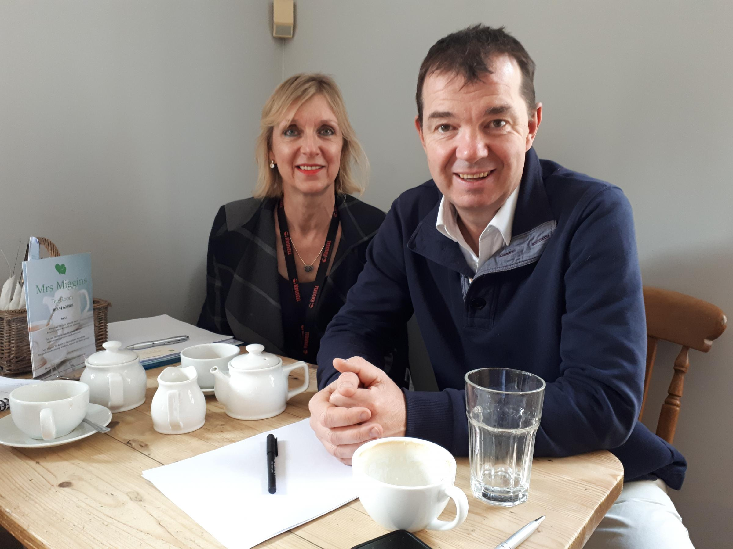 Hexham's MP Guy Opperman meets with Karen Bragg, the Post Office's area network change manager, in Hexham.
