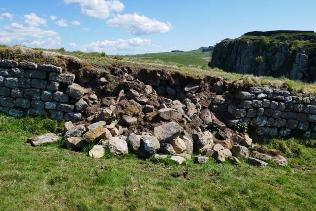 The collapsed section of Hadrian's Wall at Steel Rigg.