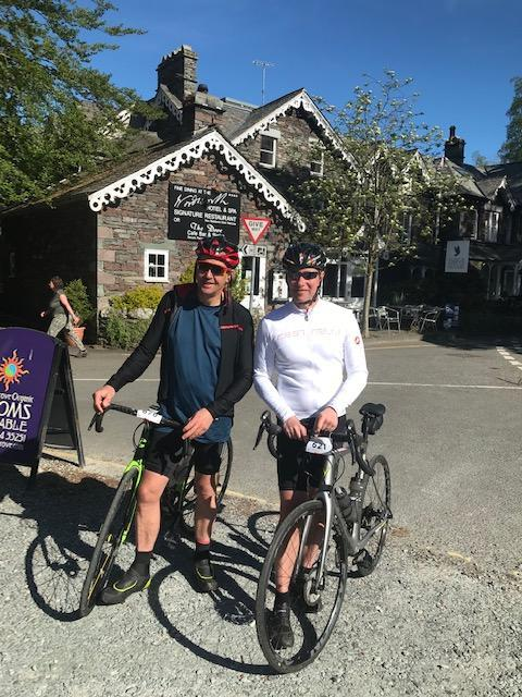 Fund-raising cyclists Rob Aubrook (left) and Michael Smith.