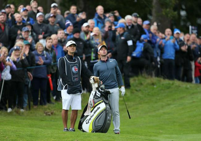 Rory McIlroy, pictured with caddie Harry Diamond, during the final round of the British Masters at Close House in 2017.  Photo: RICHARD SELLERS/PR WIRE