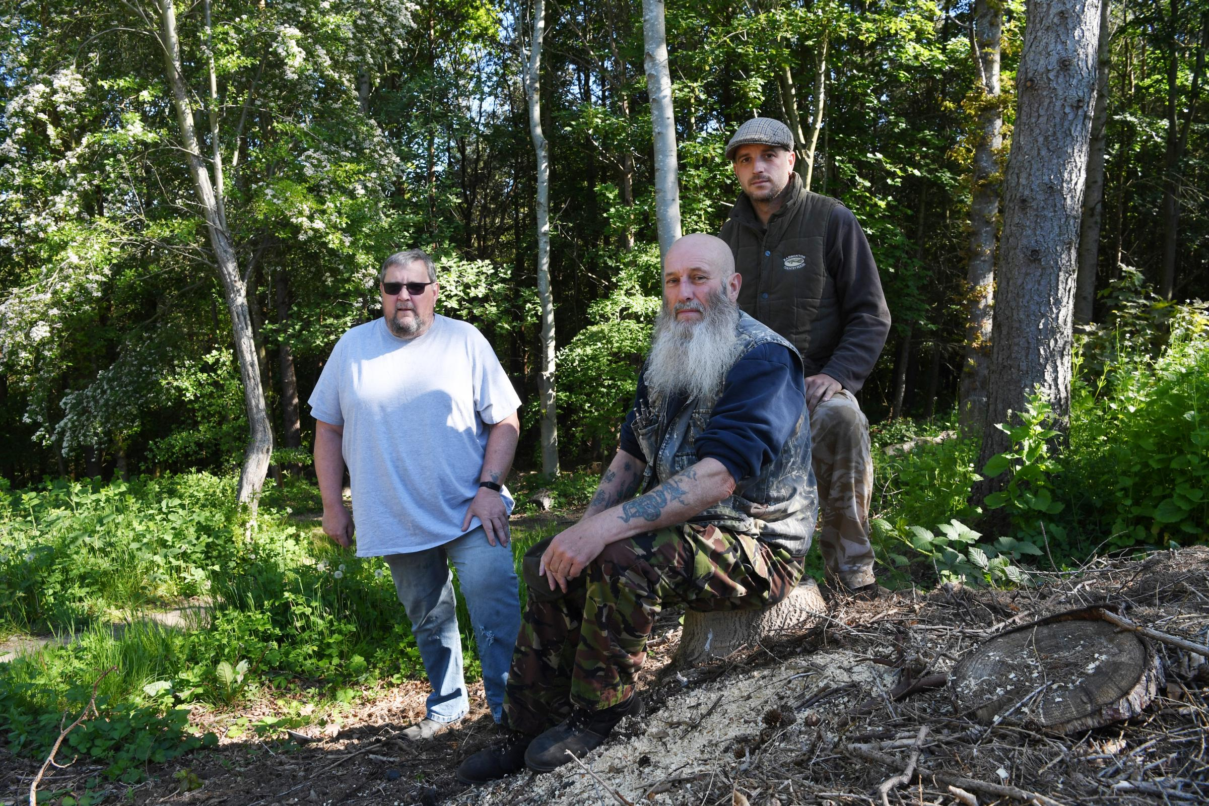 Friends of Prudhoe Woods members Peter Binns, Ken Brown and Nicky Brown are hoping to recoup some of the grant funding lost in a suspected scam. 							     Photo: HX211913