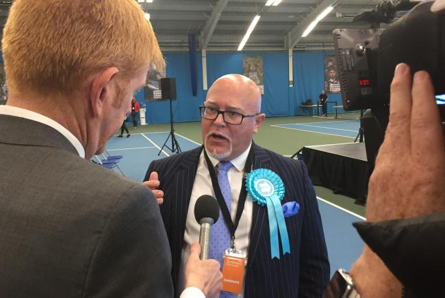 Brexit Party MEP, Brian Monteith, is interviewed by the media after his success in the European elections. Photo: TOM WILKINSON/PA