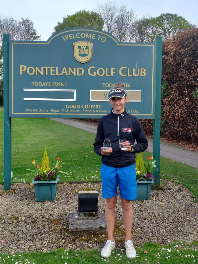 Ponteland golfer Zara Naughton, who won all three of the girls county championships at Ponteland Golf Club. Submitted pic.