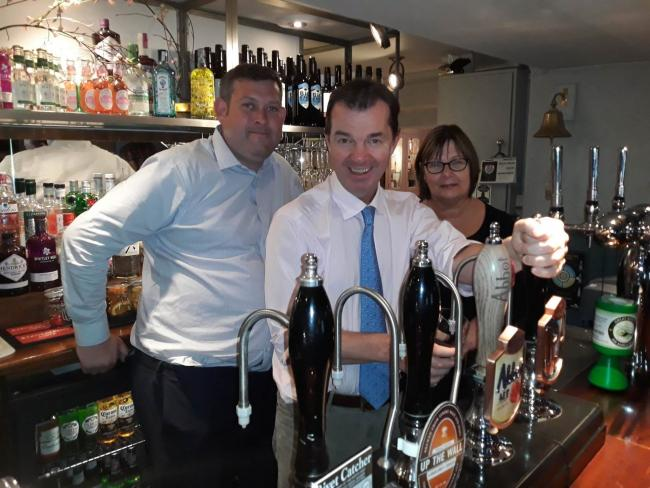 UKHospitality public affairs director David Sheen and Hexham's MP Guy Opperman with Linda Wears, the general manager of the Black Bull, in Corbridge.