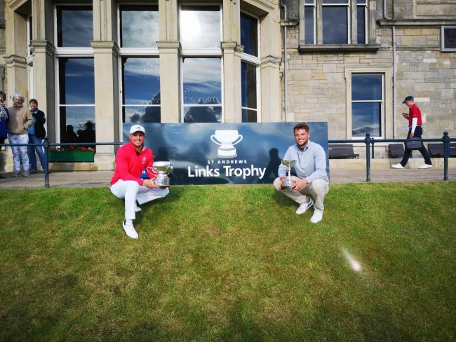 Hexham's Matty Lamb (right) with Jake Burnage, who pipped him to the St Andrews Links Trophy by one stroke.        Photo: DARREN LAMB