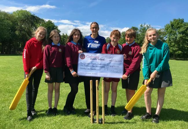 Corbridge Middle School pupils Scarlett Coney, Hannah Skinner, Rosa Mallon, Malin Mosedale, Toby Pilkington and Martha Wells-Johnson, with Teenage Cancer Trust regional fund-raiser Sonia Graham (centre).